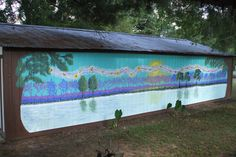 Hand painted garage mural: Fairyland Forest Beyond the Lake.