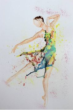 Ballerina, Watercolour Painting, Original Art, Abstract Art,  Dancer, Illustration, Colourful, Home Decor, Prints Available