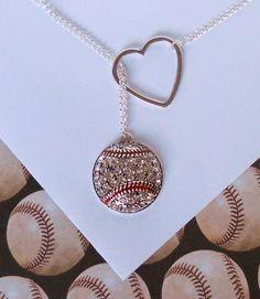 Baseball Lariat Necklace with Rhinestones and Heart, handmade jewelry from MelissaMarieRussell on Etsy. Saved to Jewelry. Bling Bling, Baseball Necklace, Baseball Jewelry, Baseball Mom, Baseball Stuff, Baseball Girlfriend, Baseball Season, Football, Baseball Tips