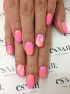 Pink ombre nails with white palm tree touches