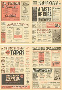 Cuban Cantina Food Menu Graphic Design for Revolution de Cuba by www.diagramdesign.co.uk
