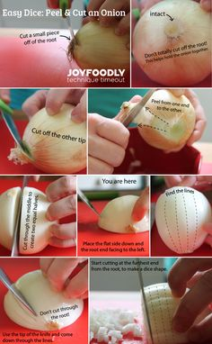 cooking tips - Technique Timeout Easy Dice Method to Peel and Cut an Onion Cooking For Beginners, Cooking 101, Cooking Tools, Cooking Recipes, Basic Cooking, Cooking Hacks, Skillet Recipes, How To Cut Onions, Indian Food Recipes