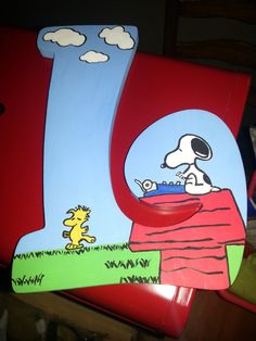 Snoopy custom hand painted letter by paintInsidethelines on Etsy, $12.00