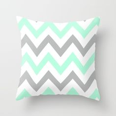MINT & GRAY CHEVRON Throw Pillow by Natalie Sales. Worldwide shipping available at Society6.com. Just one of millions of high quality products available.