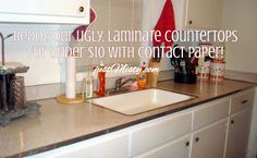 Redo your ugly, laminate counter-tops for under $10 with Contact Paper: Until we can do a full kitchen reno, this may be a good solution for a cheap and easy counter-top.