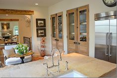 built in kitchen storage w/ antique doors