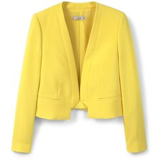 Mango Crop jacket (€45) ❤ liked on Polyvore featuring outerwear, jackets, women, yellow, lined jacket, mango jacket, yellow crop jacket, long sleeve jacket and cropped jacket