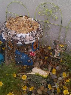 Fairy house made from terracotta pot