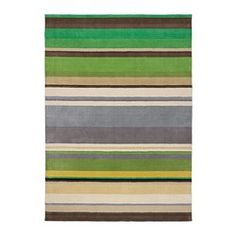 STOCKHOLM Rug, low pile - IKEA---only come in a 5x8 size, may be a little small but a good option as the horizontal lines will help give the illusion of a slightly wider space.  Good colors that we can incorporate into the accessories
