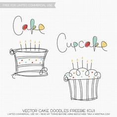 Vector Cake Doodles Freebie- Awesome site with lots of freebie vectors. Turn them into SVG's or print them off!