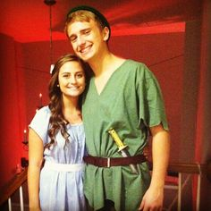 Couple halloween costume! Peter Pan & Wendy. Yes he wore tights..