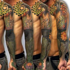 Geometric Colorful Sleeve Tattoo - Balinese Tattoo Miami
