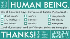 Toronto Etiquette Project human being card
