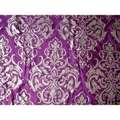 Damask Purple Velvet Fabric With Pearl Silver by FabricMart, $10.60