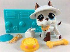 Littlest Pet Shop RARE White & Brown Great Dane #577 w/Accessories AUTHENTIC #Hasbro
