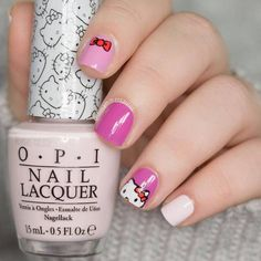 Hello Kitty nail art by The Nailasaurus Nails For Kids, Girls Nails, Collection Mac, Makeup Collection, Juliana Nails, Nagel Bling, Uk Nails, Bling Nails, Hello Kitty Nails