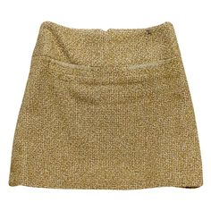 Pre-owned Chanel Tan & Gold Tweed Skirt (865 CAD) ❤ liked on Polyvore featuring skirts, tweed skirt, chanel skirt, brown tweed skirt, chanel and brown skirt