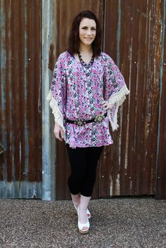 Summer Chic Fringe Tunic Color And Fringe Sleeve adorn our Diamond Print Tunic!  The true Summer Chic Tunic!