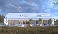 Ekonomiczny 4A - wizualizacja 3 - nowoczesna stodoła z dwustanowiskowym garażem i antresolą