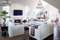 Media Room. Montauk sofas.  Vince Camuto's Jazz Age Manor in the Hamptons