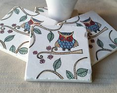 Absorbent Tile Coasters  Woodland Owl Home Decor  by MyLittleChick