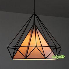 Estilo Retro negro del arte del hierro diamante jaula colgante de luz de la lámpara colgante diámetro 38 cm comedor salón accesorio de iluminación