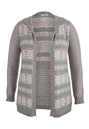 Striped snowflake plus size cardigan with hood - maurices.com