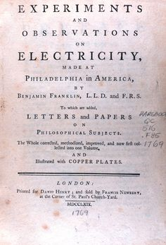 """Title page of: """"Experiments and observations on electricity ...."""" by Benjamin Franklin, 1706-1790. This book was published in 1769."""