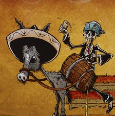 Skeleton mariachi play music and party atop the only known picture of the first lowrider. Painting Process The 36 x 24 canvas was painted with orange and brown acrylics to develop a dusty desert backd
