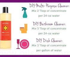 DIY cleaners using OnGuard cleaner concentrate: Multi-purpose cleaner, bathroom cleaner, dish cleaner