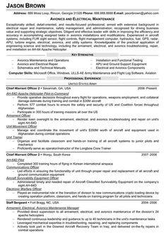 avionics and electrical maintenance resume sample