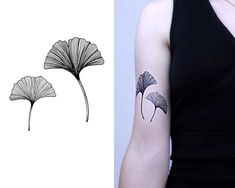 Ginko leaves in linework. Temporary tattoos. Blackwork.