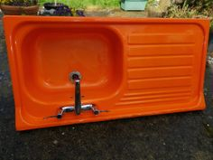 Vintage Enamel Orange Kitchen Sink 1960s 1970s Retro Kitchenalia