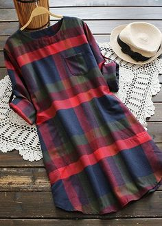 Asymmetric Hem Long Sleeve Pocket Design Plaid Dress