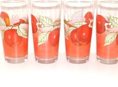 Vintage AppleSet of Four Glasses by GoldiesOldieFinds on Etsy, $12.00