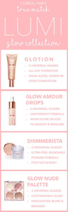 The new L'Oreal True Match Lumi Highlighter line: Glotion Glow-Enhancing Lotion, Glow Amour Glow-Boosting Drops, Shimmerista Highlighting Powder, and Glow Nude Palette.