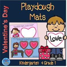 Valentine's Day themed playdough mats.  Numeracy, literacy and fine-motor skills are all promoted through the use of these mats.  #valentinesday #playdoughmats #tpt #treasuresforthematicteaching #kindergarten