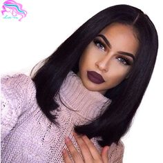 Glueless Bob Cut Brazilian Lace Front Wigs With Baby Hair Virgin Brazilian Short Full Lace Human Hair Wigs Bob For Black Woman