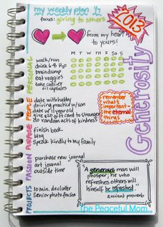 My Weekly (generosity) Plan 1-7-2013--The Peaceful Mom (print your own customizable weekly planner too!)