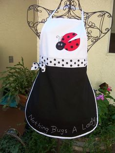 Lady Bug Apron with handpainted face and by Ladybuglace on Etsy, $29.95
