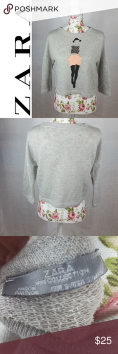 ZARA W&B Collection Cropped Fahion Pop Over Definitely one of a kind! Soft cozy cotton with a pop art fashion girl printed, and leather cut on front. Three quarter length sleeves, and cropped fit. EUC. Zara Tops Sweatshirts & Hoodies