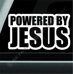 Powered By Jesus Funny Bumper Sticker Vinyl Decal Holy Christ Christian Cross