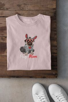 """Love this """"Pug Mom"""" funny tshirt?  We do too :)  Its the perfect cute gift idea for moms, best friends, co-workers, teachers, women or even yourself...    #funnyshirt #giftideas #funnytshirt #giftideasforfriends  #KatieMcGrathDesigns Funny Shirts, Tee Shirts, Christmas Gifts For Wife, Mom Funny, Katie Mcgrath, Heather Black, Mom Humor, Cute Gifts, Stocking Stuffers"""
