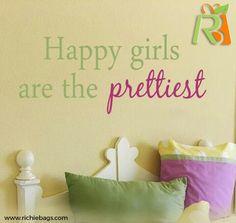 Happy Girls Are The Prettiest Quote Vinyl Wall Decal - Children/Teen Vinyl Wall Art - Vinyl Lettering Kids Wall Decals, Vinyl Wall Decals, Vinyl Decor, Wall Stickers, Little Girl Rooms, Little Girls, Pretty Quotes, Little Doll, Happy Girls