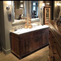 Upcycle An Old Desk Into A Double Sink Vanity For The Bathroom Brilliant Repurposed Vanities