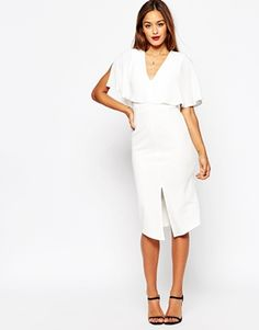 ASOS Wiggle Dress with Woven Mix Angel Sleeve