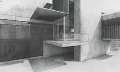 This image uses line work to not only show shadow cast from the walls and roof but also  show the detail in the concrete face of the building
