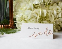 Wedding Place Cards / Table Settings / Escort Cards / Instant Download / Editable PDF / We Do / Modern Calligraphy / Faux Copper Texture by JellypressPrintables on Etsy