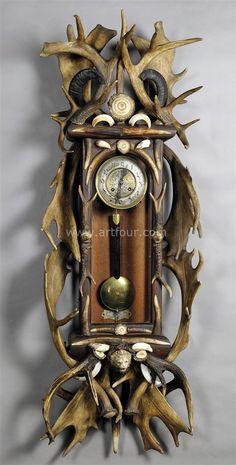 antique black forest antler clock regulator 1900