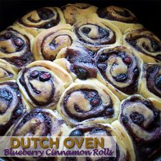 Dutch Oven Blueberry Cinnamon Rolls - http://50campfires.com/dutch-oven-blueberry-cinnamon-rolls/ #camping #blueberry #cinnamonrolls #dutchoven